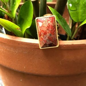 18k gold clad coral ring. Size 6.